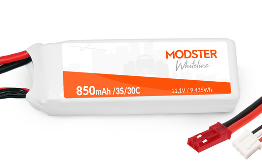 LiPo Pack 3S 11,1V 850 mAh 30C (JST) MODSTER WhiteLine