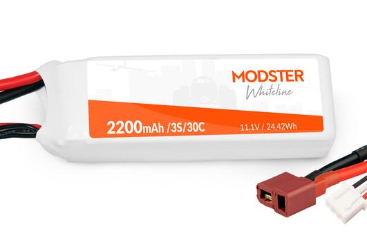 LiPo Akku 3S 11,1V 2200 mAh 30C (Deans) MODSTER WhiteLine