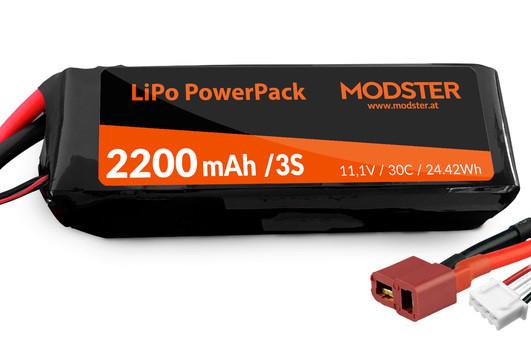 LiPo Akku 3S 11,1V 2200 mAh 30C (Deans) MODSTER PowerPack